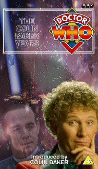 My cover for The Colin Baker Years, photo-montage with graphic spine