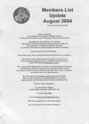 New members list published mid August 2004 - sorry for the wait!