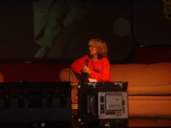 Presenter Julie Stevens interviews Tony Currie