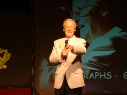 """""""And now - from Norwich - it's the quiz of the week!"""" - actor, host and comedian Nicholas Parsons was a surprise guest who was able to make it this year"""